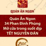 Quán Ăn Ngon 34 Phan Đình Phùng mở cửa suốt dịp Tết Nguyên Đán